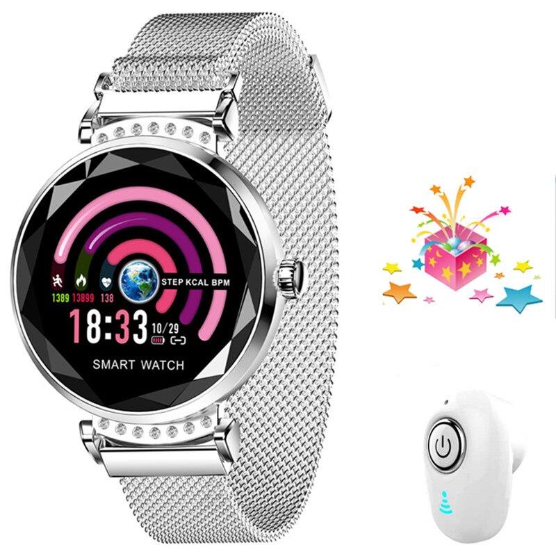Smartband + ecouteur/ensemble femmes montre intelligente sport Bracelet en métal Bluetooth poignet hommes Bracelet intelligent écran géométrique VS B80 H1 P70