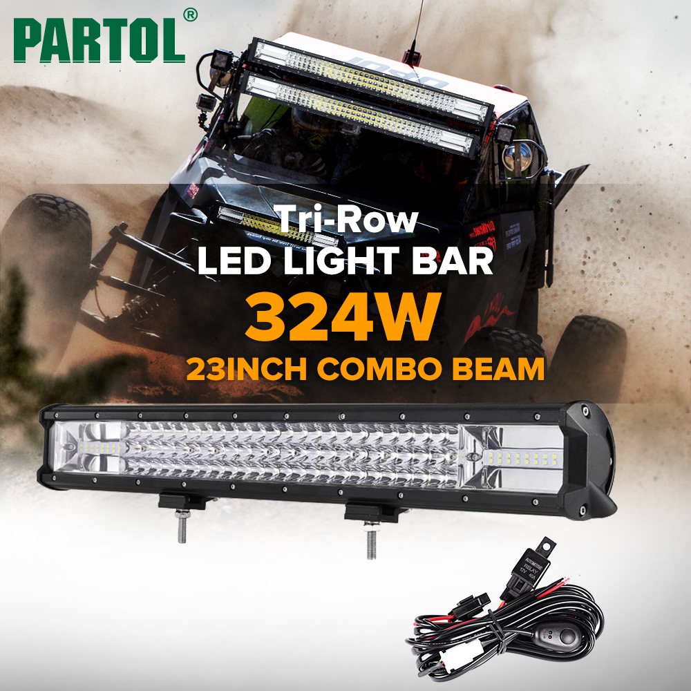 Partol 23 324W Tri-Row LED Light Bar Combo Spot Flood Beam Offroad Work Light 4WD 4x4 LED Bar 6000K for Truck Camper Trailer brand new universal 40 w 6 inch 12 v led car work light daytime running lights combo light off road 4 x 4 truck light