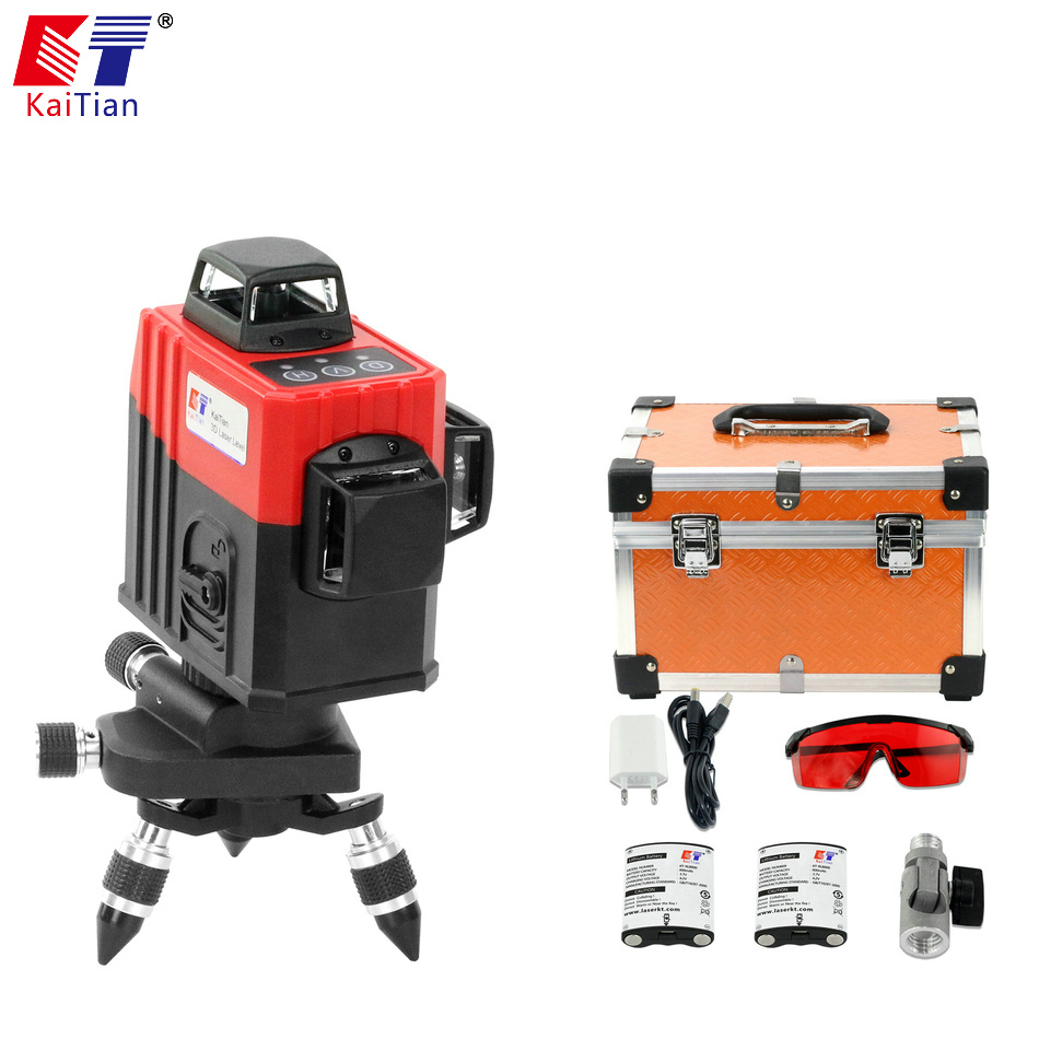 KaiTian 12Lines 3D5 Laser Level Self-Leveling 360 Horizontal And Vertical with Outdoor Tilt Function Cross Red Laser Beam Line цена