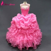 Real Sweet 15 Gown With Crystal Beads Lace Up Vestido De Novia With Pleats Pink Organza
