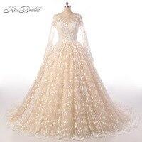 מכירת חמה כדור שמלת חתונת פרח שמלות אשליה ארוכה שרוולים Robe De Mariage Vestido דה Noiva שמלות הכלה עם חרוזים