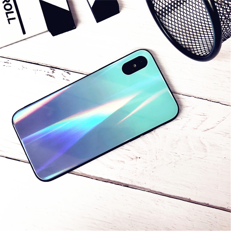 BONVAN For iPhone X 7 8 Plus Tempered Glass Back Case Gradient Color Laser Aurora Silicone Bumper For iPhone 7 6S 8 6 Plus Cover25