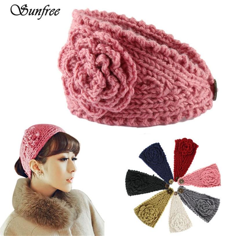 Sunfree Fashion Women Crochet Headband Knit Hairband Flower Winter