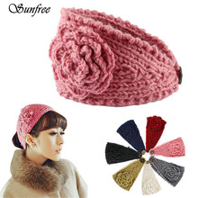 Sunfree Fashion Women Crochet Headband Knit Hairband Flower Winter Ear Warmer Head wrap Elastic Hair Accessories Jewelry Oct 24n