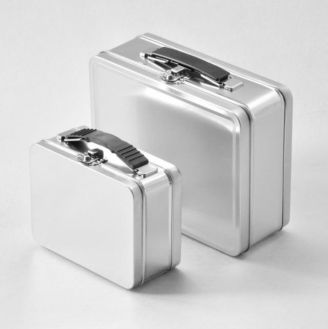4pcs 19515373cm silver plain muji portable tin box storage bin metal