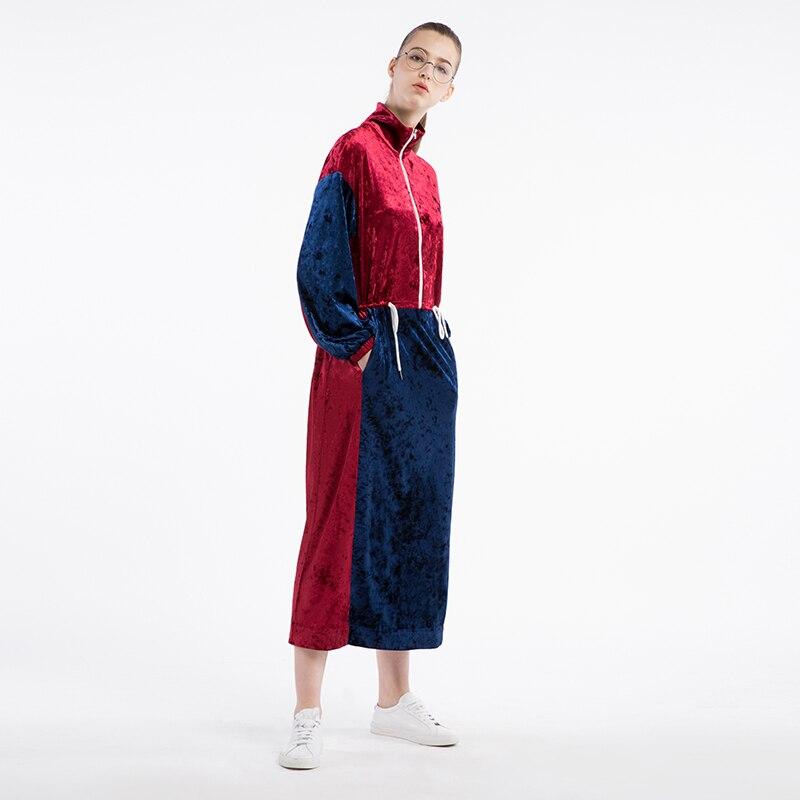 Grande Conception Loisirs Demi 2017 Velours Femme cercle Taille Lourd Lâche Robe Longue Automne Originale Mouvement Nouveau O55SFwqT