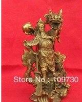 משלוח חינם 00454 הסיני עתיק גיבור גואן גונג גואן יו פסל ברונזה * דרקון
