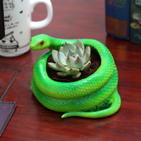 Creative Resin Flower Pots Green Snake Shape Home Office Desk Furnishings Multicapacity Process Personalized Home Landscape