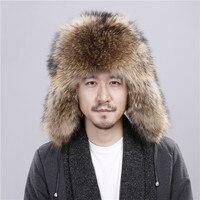 Raccoon fur hat, fox hair, male thicker, warm hat, winter fur full hair King hat.