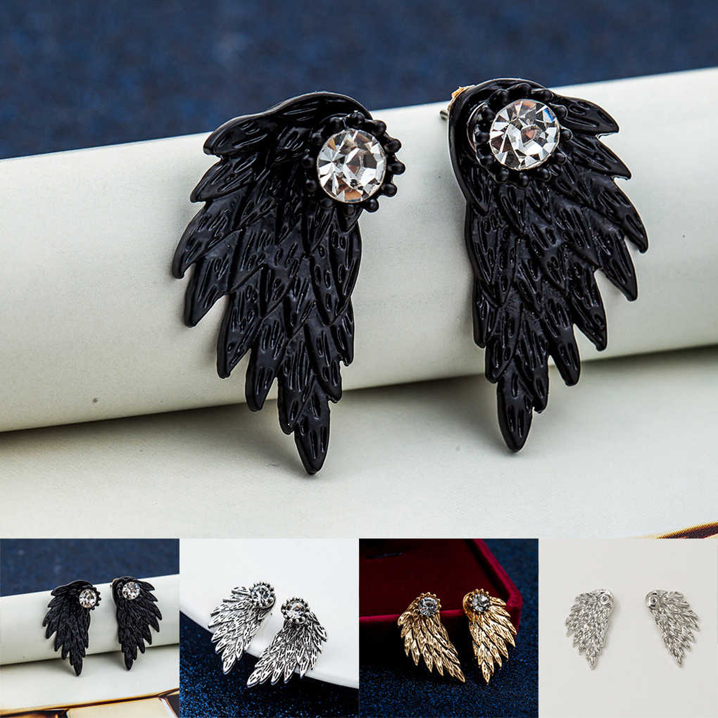 1 Pair Angel Wings Alloy Stud Earrings Black Silver Feather Earrings for Women