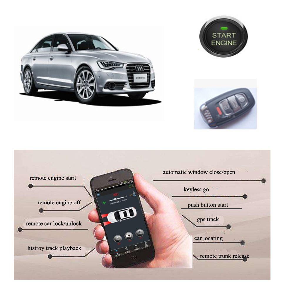 Module de démarrage du moteur PLUSOBD télécommande d'alarme de démarreur de voiture par Smartphone + clé de voiture d'usine Cool/échauffement pour Audi A4L Q5