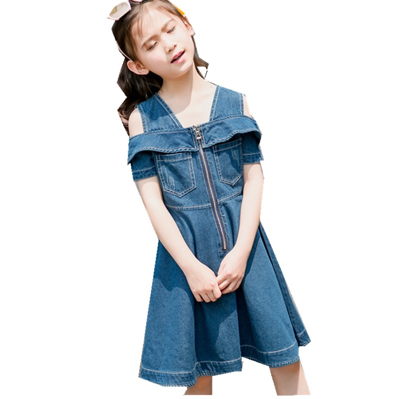 Foreign Trade Children's Garment Summer New Girl Cowboy Both Shoulders Straps Princess Dress