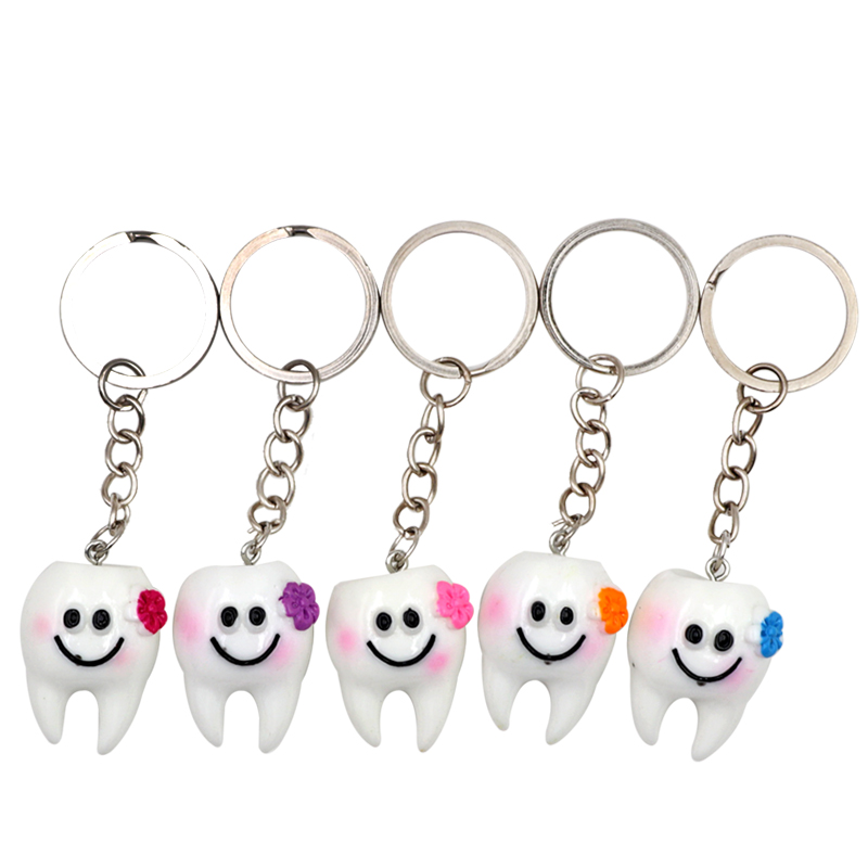 5pcs Simulation Tooth Model Creative Cartoon Tooth Keychain Tooth Pendant Key Ring Child Dental teaching Dental Clinic gift