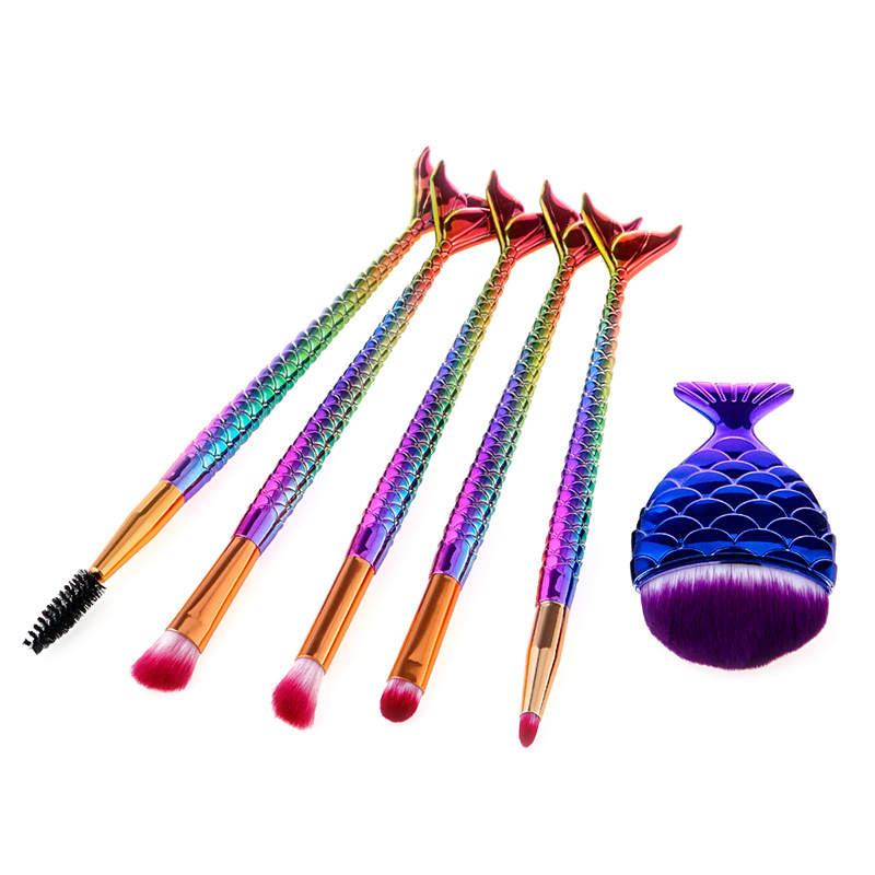 New Mermaid makeup brushes Foundation Eyebrow Eyeliner Blush Cosmetic Concealer Fish tail make up brushes Tools pincel maquiagem 7pcs makeup brushes professional fashion mermaid makeup brush synthetic hair eyebrow eyeliner blush cosmetic