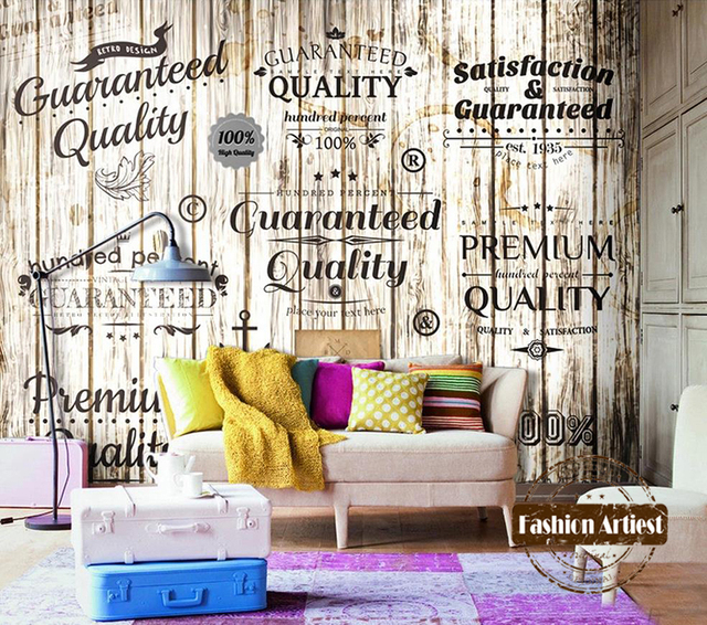 Custom 3d Vintage Wallpaper Mural Wooden Board Trade Mark Letter Tv Sofa  Bedroom Living Room Cafe