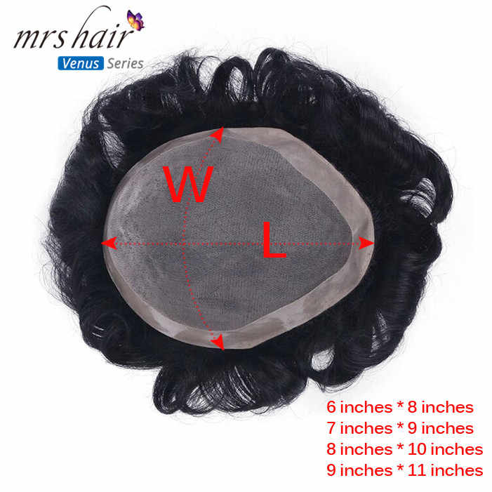 MRS HAIR Mens Toupee 100% Remy Human Hair Lace Thin PU Replacement System Toupees Men Hair Wigs