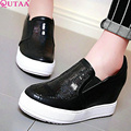 QUTAA Red Fashion Ladies Spring Shoes Wedge High Heels Sequin Woman Pump Slip On Round Toe Women Casual Shoe Size 34-39