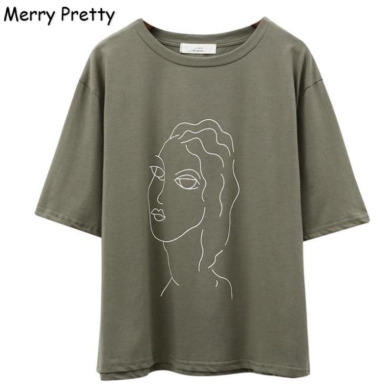 FROHE ZIEMLICH Armee Grün T hemd Frauen Charakter Gedruckt Weibliche Kurzarm T-Shirts Beiläufige Lose T Shirts Sommer Baumwolle Tops