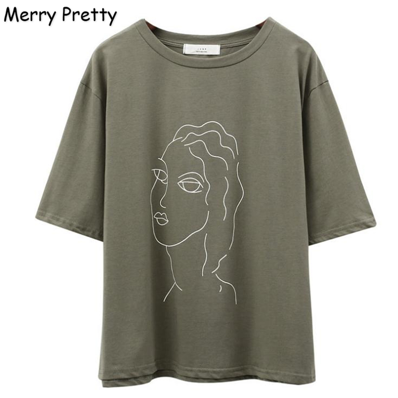 MERRY PRETTY Army Green T Shirt Women Character Printed Female Short Sleeve T-Shirts Casual Loose Tee Shirts Summer Cotton Tops