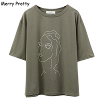 MERRY PRETTY Women Sketch Character Printed T Shirt Korea 2018 Female Half Sleeve Casual Loose Tee