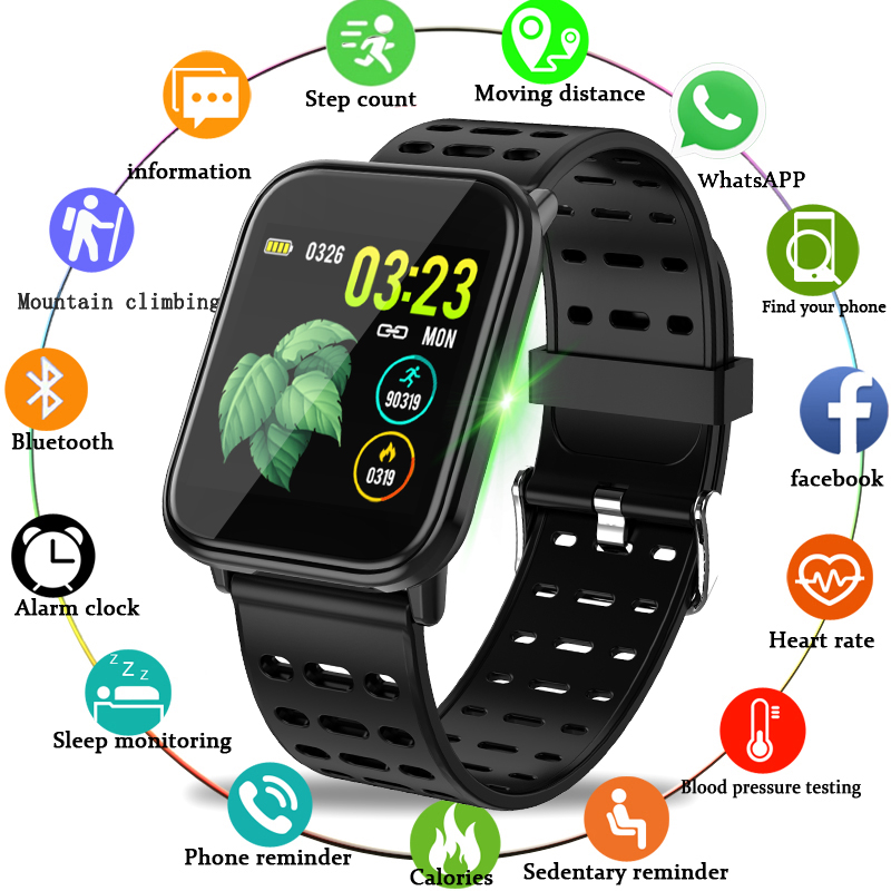 WISHDOIT inteligente deporte reloj IP67 reloj resistente al agua de la presión arterial de vigilancia HD pantalla táctil reloj para Android ios
