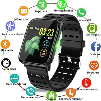 b57285d471db WISHDOIT inteligente deporte reloj IP67 reloj resistente al agua de la  presión arterial de vigilancia HD pantalla táctil reloj para Android ios