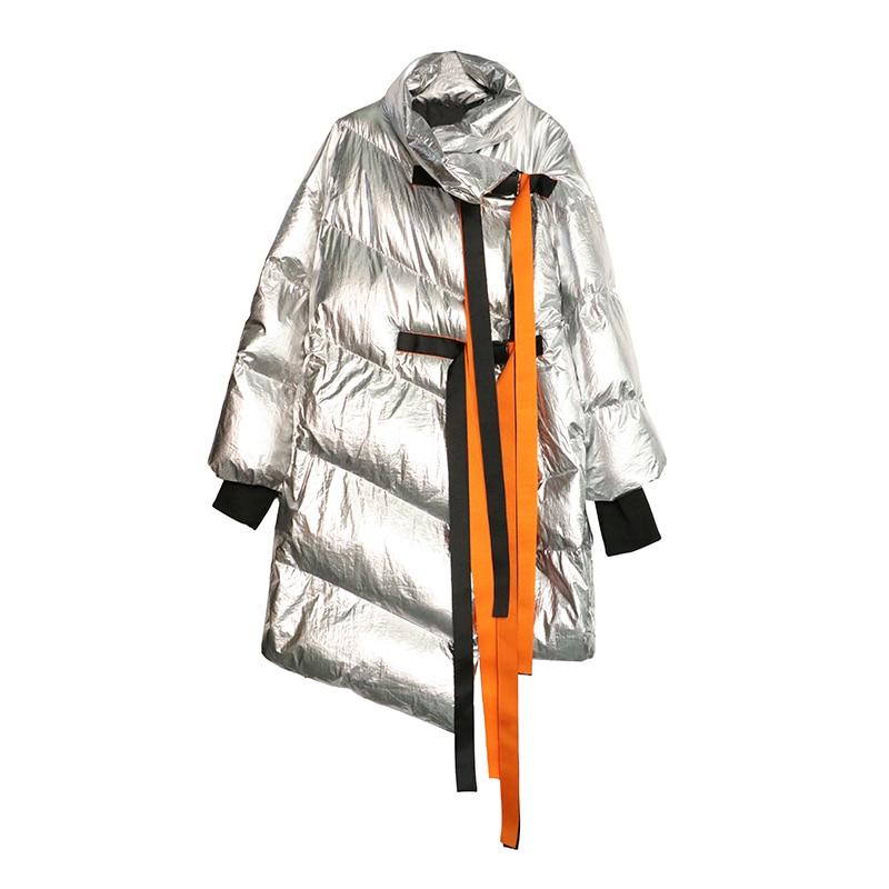 Style Hiver Manteau Ruban Long Chaud Boucle argent Lâche Coton Noir Nouveau Manteau Parkas Irrégulière 55BFWrw1cv