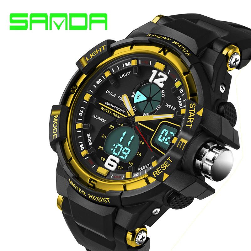 Prix pour 2017 marque de luxe sanda led montre numérique hommes s étanche sport militaire montres choc enfants analogique numérique-montre relogio