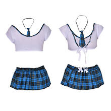 JCAAAP fantasias erotic sexy costumes for sexy lingerie Seductive green sexy school uniform girls crop top and mini skirt(China)