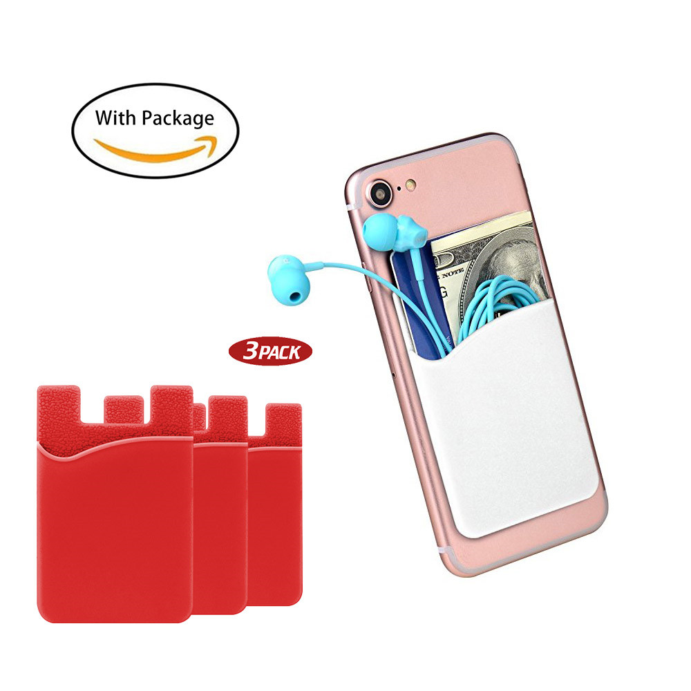 cell phone wallet stick on case silicone card holder for back of phone with pocket credit - Cell Phone Business Card Holder