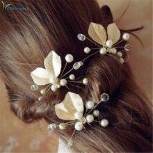 Gootrades – épingles à cheveux de mariage, 1 pièce, accessoires de mariée, feuille de perle, Clips en métal, peigne diamant coulissant