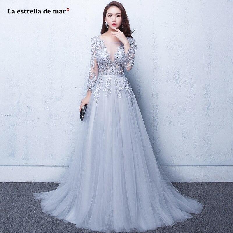 Vestido De Fiesta Para Boda New Scoop Lace Beaded A Line Long Sleeve Silver Royal Blue Royal Blue Blush Pink Bridesmaid Dresses