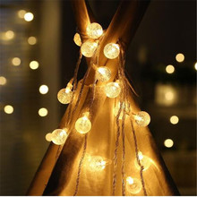 Connective 10M 50LED Crystal Ball String Light LED Fairy Lights for Christmas Tree Wedding Party Festival House Garden Decor