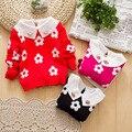 2016 новая коллекция весна осень женский новорожденных девочек одежда цветок сливы экипажа шею свитер свитер детей детская компьютер вязаный пуловер