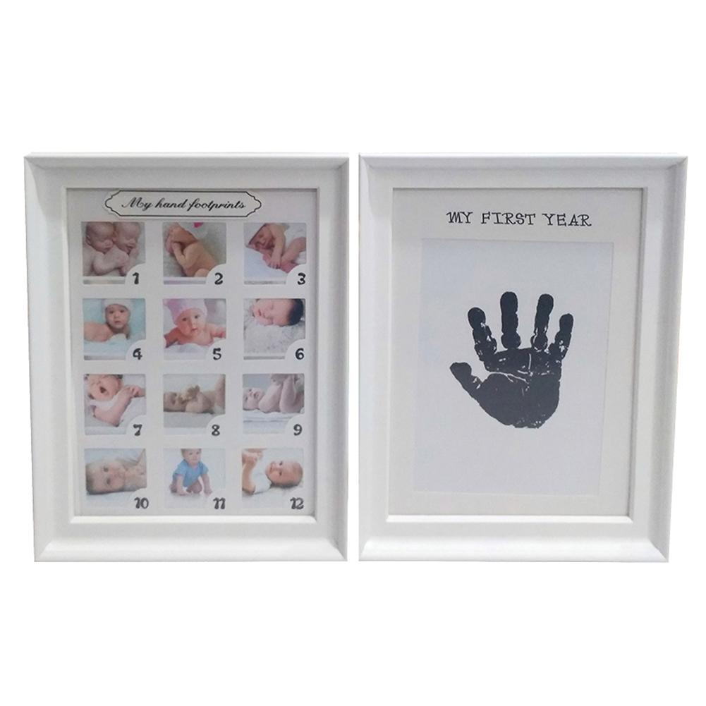 Baby Handprint Footprint Photo Frame Kit For Newborn Boys Girls Clean Touch Ink Pad Growth Fingerprints Footprints Photo Frames