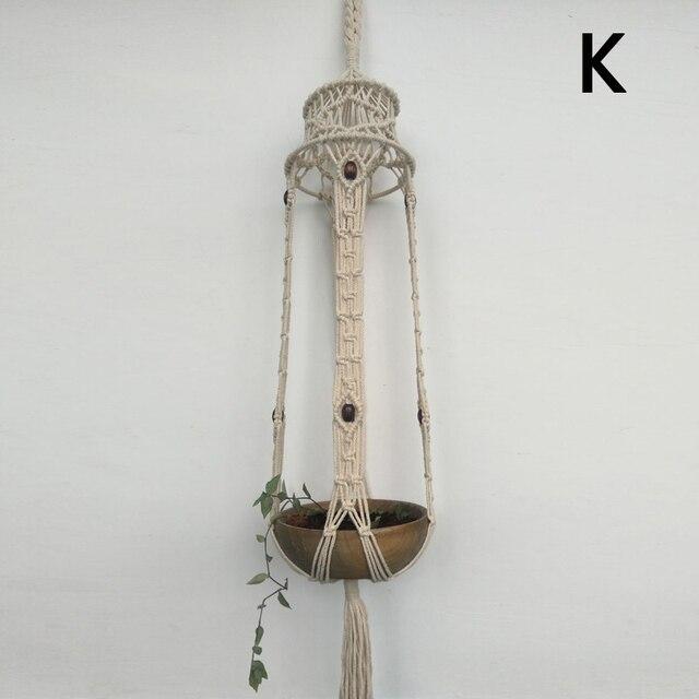 Винтажный стиль подвеска для растений из макраме Кашпо Корзина из джута Веревка Плетеный деко