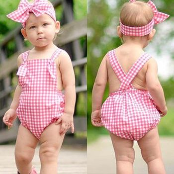 2017 Pink Plaid Romper Clothes Cute Newborn Baby Girls Summer Sleeveless Halter Bebes Jumpsuit Headband Outfit Sunsuit 2PCS Set