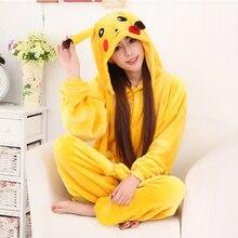 Новые дешевые зимние пижама Пикачу для женщин onesie пижамы кигуруми  комбинезоны взрослых домашняя одежда животных мультфильм ко. b6a5db3c80b4c
