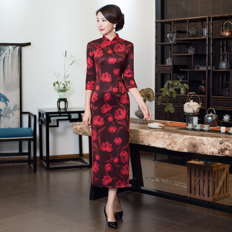 Impression 4xl Longue Cru style Robe Traditionnelle Cheongsam Style Fleur 3xl Partie Mince Grande Taille B Femmes Qipao Velours D De style Chinois C Soirée A style 7YbvI6gfy