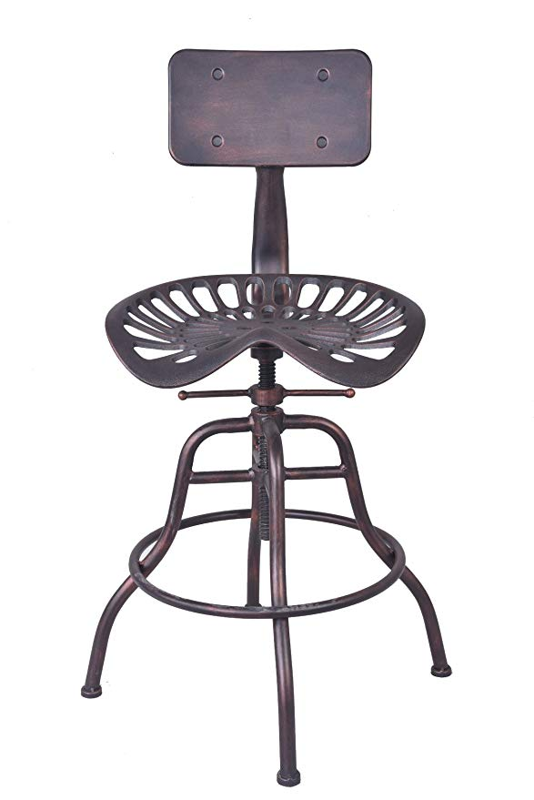 Industrial Bar Stools Furniture Design Metal Adjustable Height Back-Rest Swivel Chair Tractor Saddle Bar Stool Chair Seat