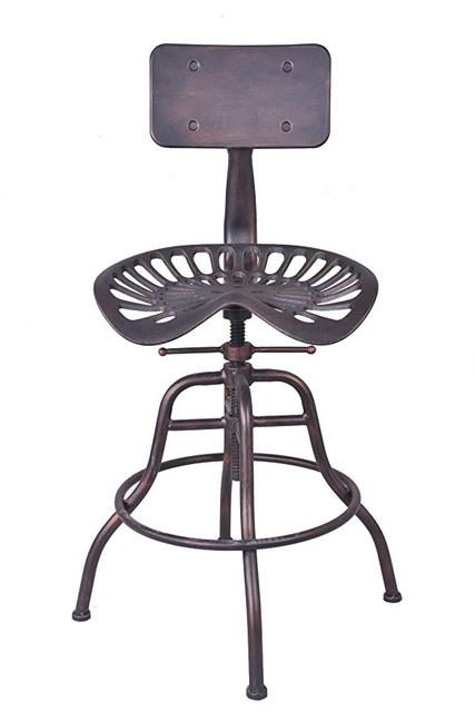 Industrial Bar Stools Furniture Design Metal Adjustable Height Back Rest  Swivel Chair Tractor Saddle Bar Stool Chair Seat