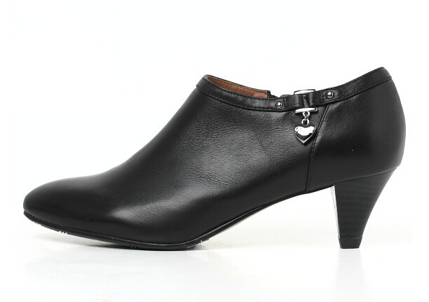 ФОТО Black genuine leather women's ankle short boots shoe winter sexy point toe middle heel zips female short pumps work boot PR1492