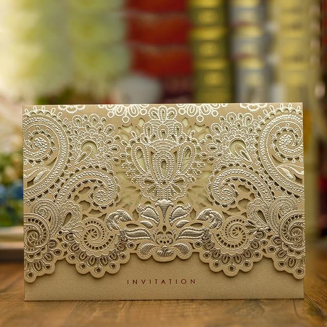 design rustic gold beige wedding invitations laser cut invitation