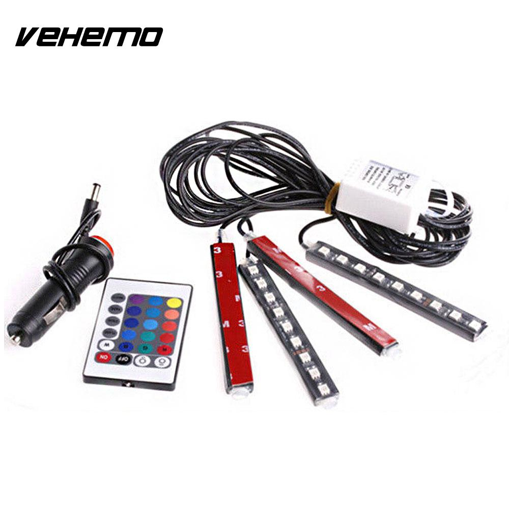 Vehemo 4Pcs Remote Control Lights Strips LED Strip Car Interior LED String Home Decor Floor Decor Durable Atmosphere Lamp