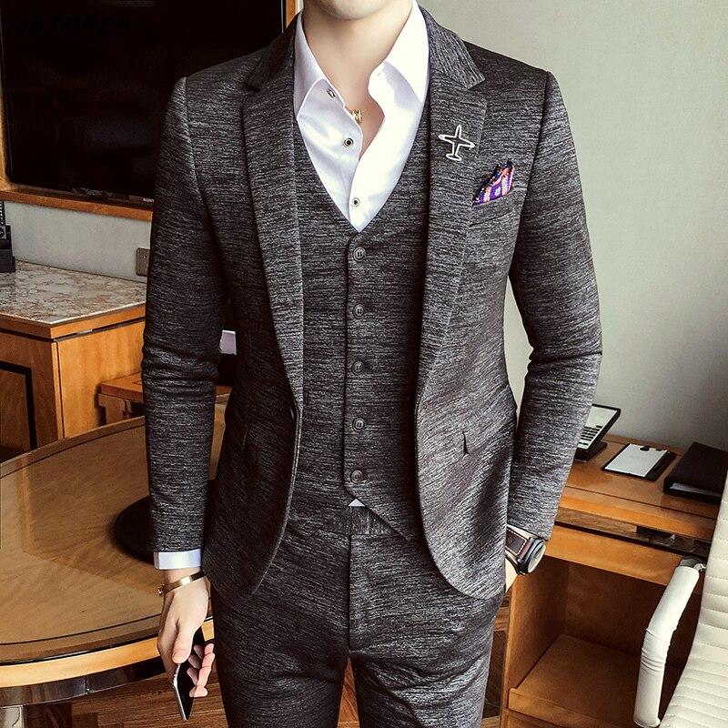 Nueva llegada de lujo de 2019, trajes formales de otoño para hombre, disfraz de novio de boda, traje de cena elegante británico, azul gris-in Trajes from Ropa de hombre    1