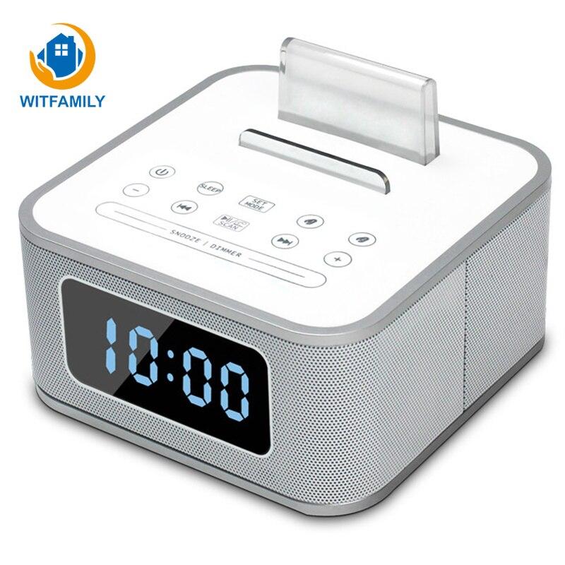 Metall Drahtlose Bluetooth Wecker Digital FM Radio LCD Subwoofer despertador Stimme Anrufe Moderne elektronische uhr tisch Home