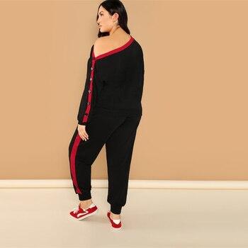 Plus Black Asymmetric Shoulder Buttoned Sleeve Sweatshirt Pants Set