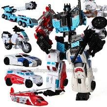 Baru 5 dalam 1 Mainan Anak Laki-laki Transformasi KO Anime Robot Devastator Pesawat Tangki Sepeda Motor Model Mobil Anak Koleksi Action Figure