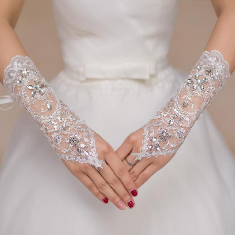 New White Long Lace Women Bridal Gloves Accessoire Mariage High Quality Crystals Beaded Fingerless Bride Wedding Gloves 05412