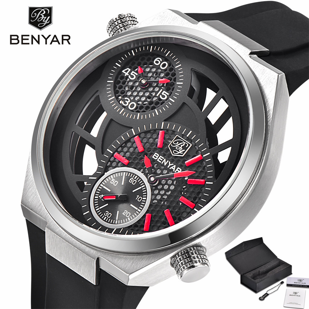 Фото BENYAR Brand Men Army Watch Dual Time Zone Cool Pilot Outdoor Rubber Band Quartz Movement Sport 3ATM Water Resistant Military
